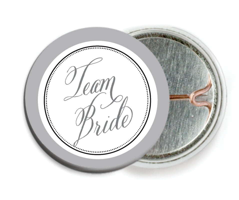 custom pin back buttons - charcoal - just glamorous (set of 6)