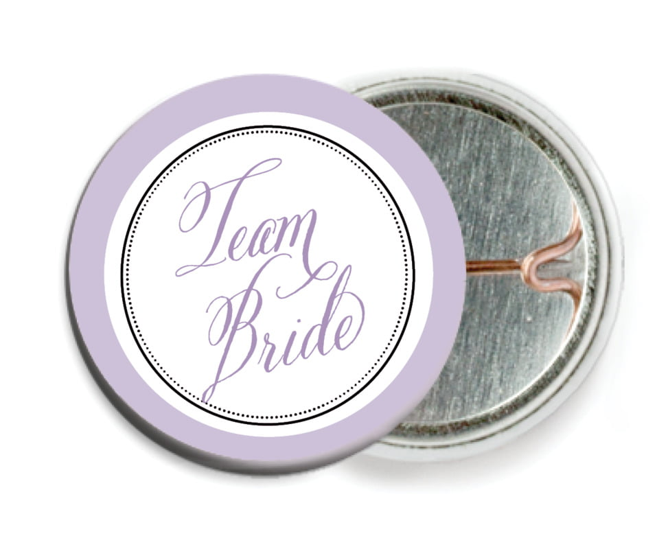 custom pin back buttons - lilac - just glamorous (set of 6)