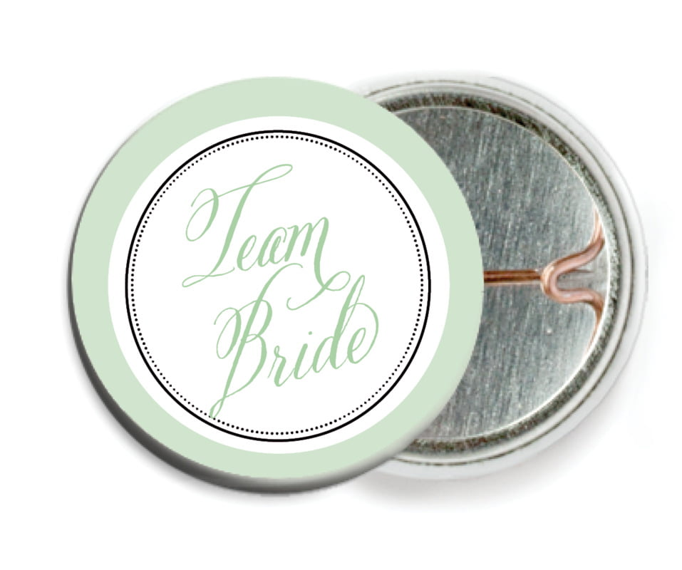 custom pin back buttons - mint - just glamorous (set of 6)