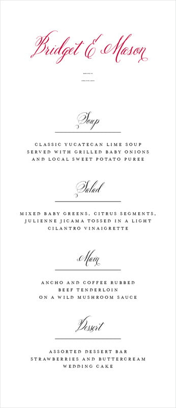 custom menus - deep red - just glamorous (set of 10)