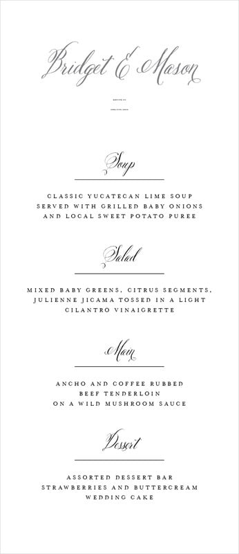 custom menus - charcoal - just glamorous (set of 10)