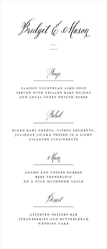 custom menus - black - just glamorous (set of 10)