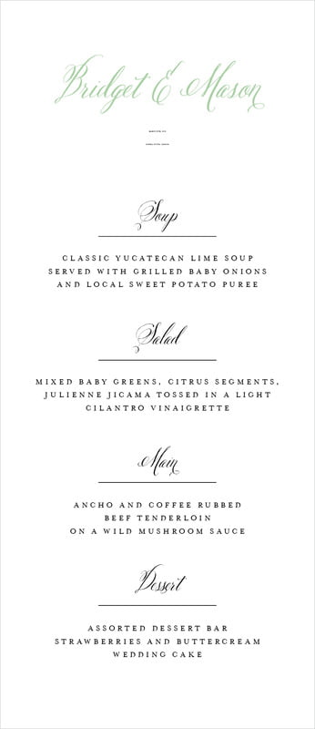 custom menus - mint - just glamorous (set of 10)