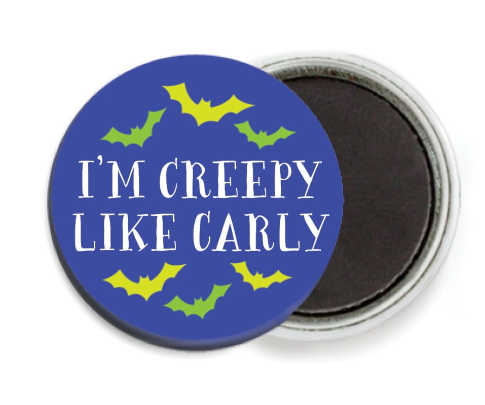 custom button magnets - deep blue - jack-o-lantern (set of 6)