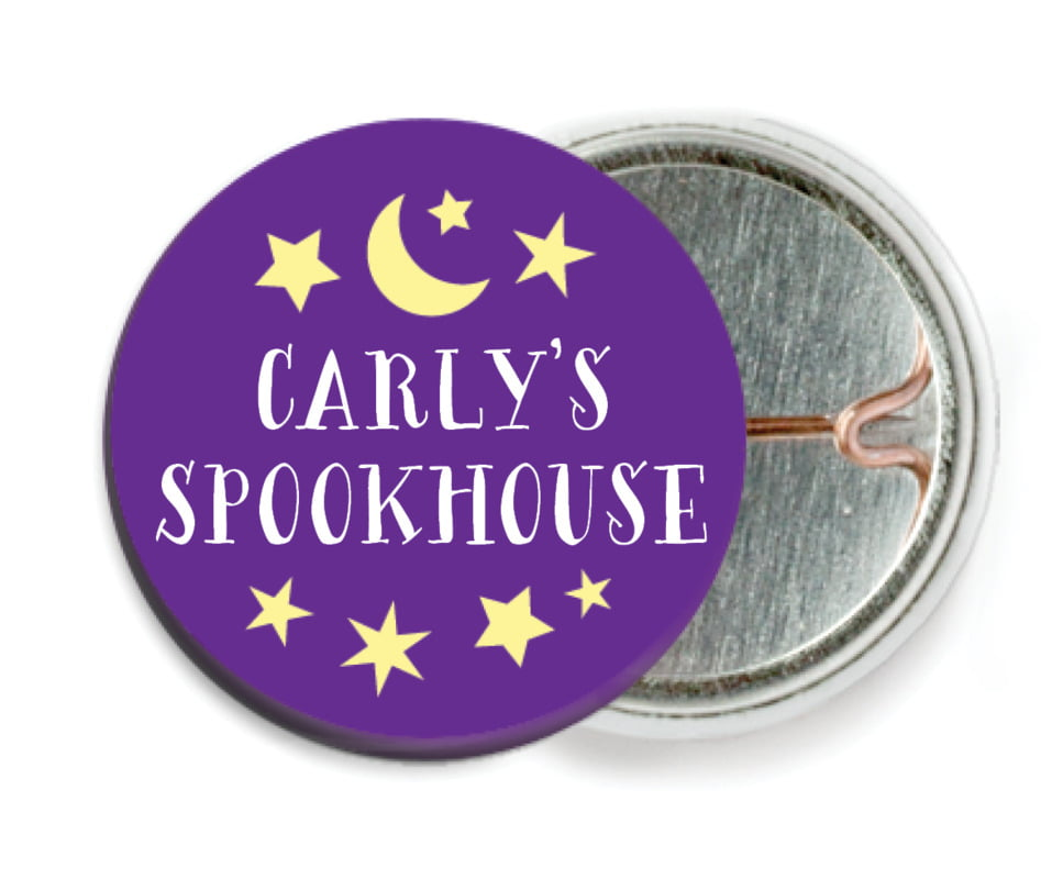 custom pin back buttons - purple - jack-o-lantern (set of 6)