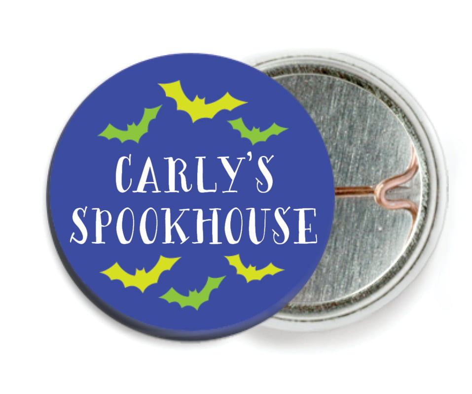 custom pin back buttons - deep blue - jack-o-lantern (set of 6)