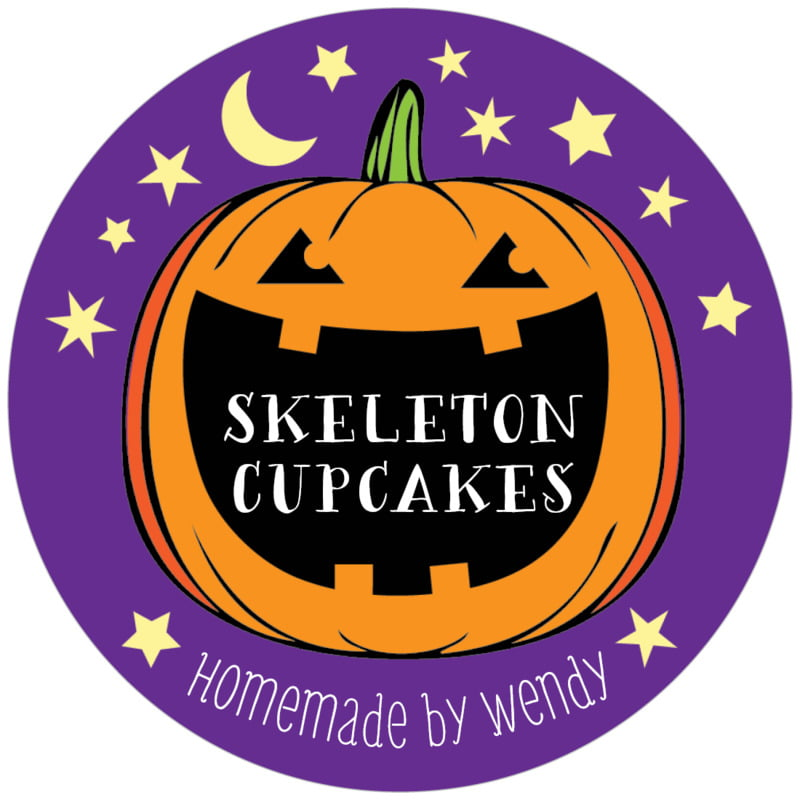 circle food/craft labels - purple - jack-o-lantern (set of 12)