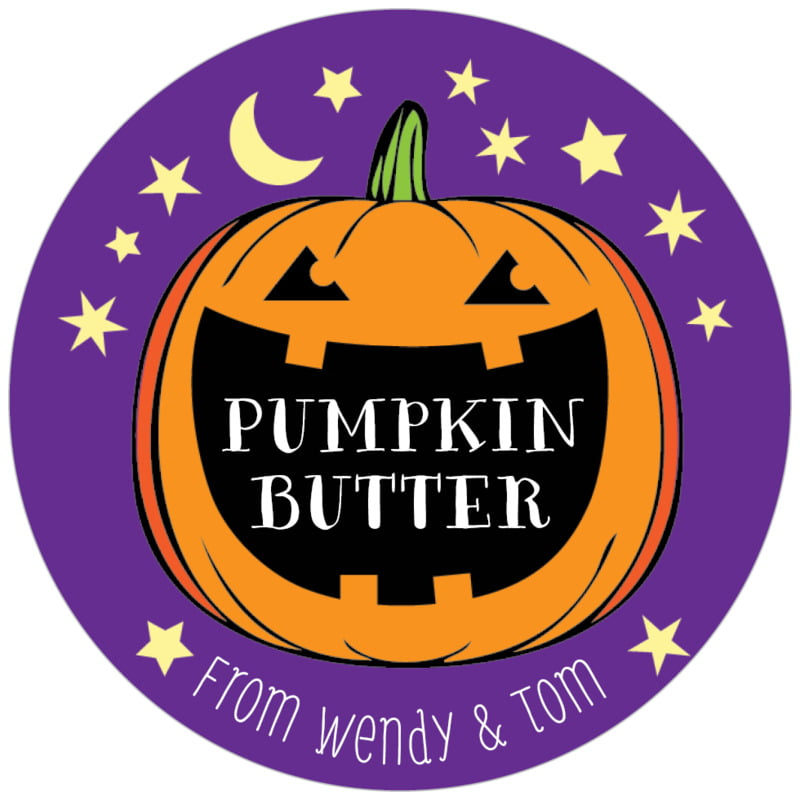 circle food/craft labels - purple - jack-o-lantern (set of 20)