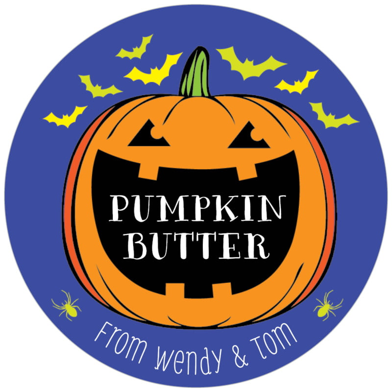 circle food/craft labels - deep blue - jack-o-lantern (set of 20)