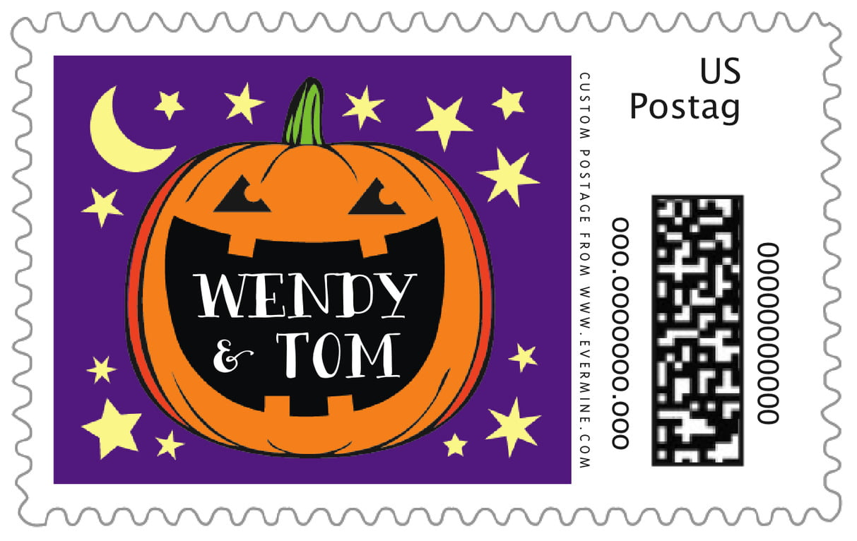 custom large postage stamps - purple - jack-o-lantern (set of 20)