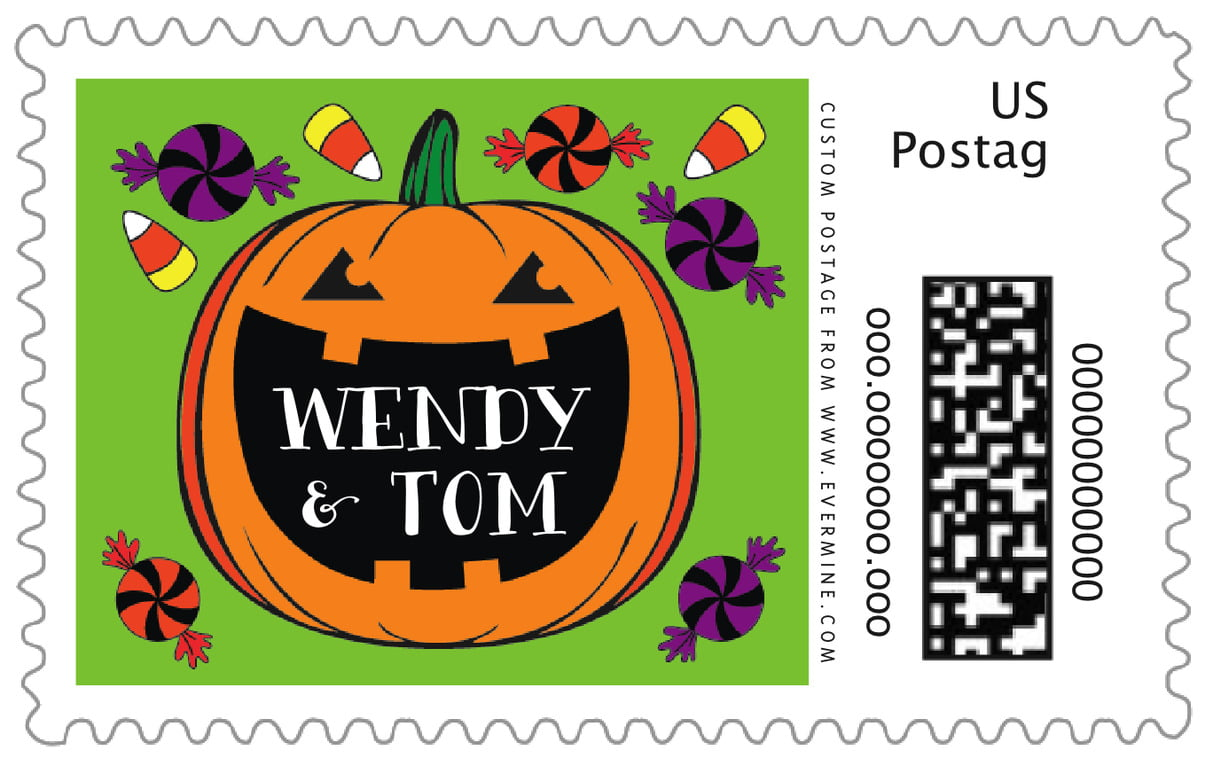 custom large postage stamps - lime - jack-o-lantern (set of 20)