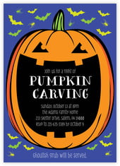 Jack-O-Lantern Card In Deep Blue