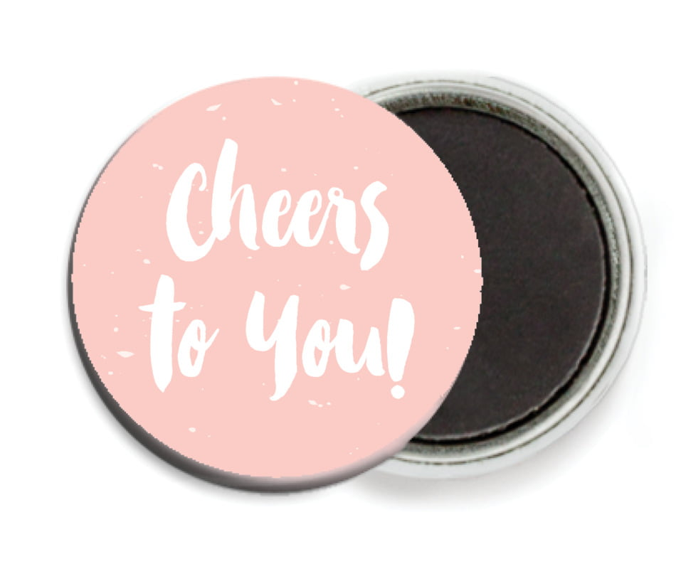 custom button magnets - rose quartz - bonjour (set of 6)