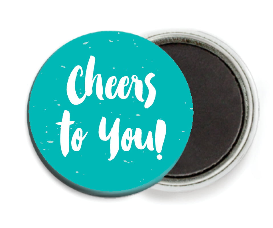 custom button magnets - turquoise - bonjour (set of 6)