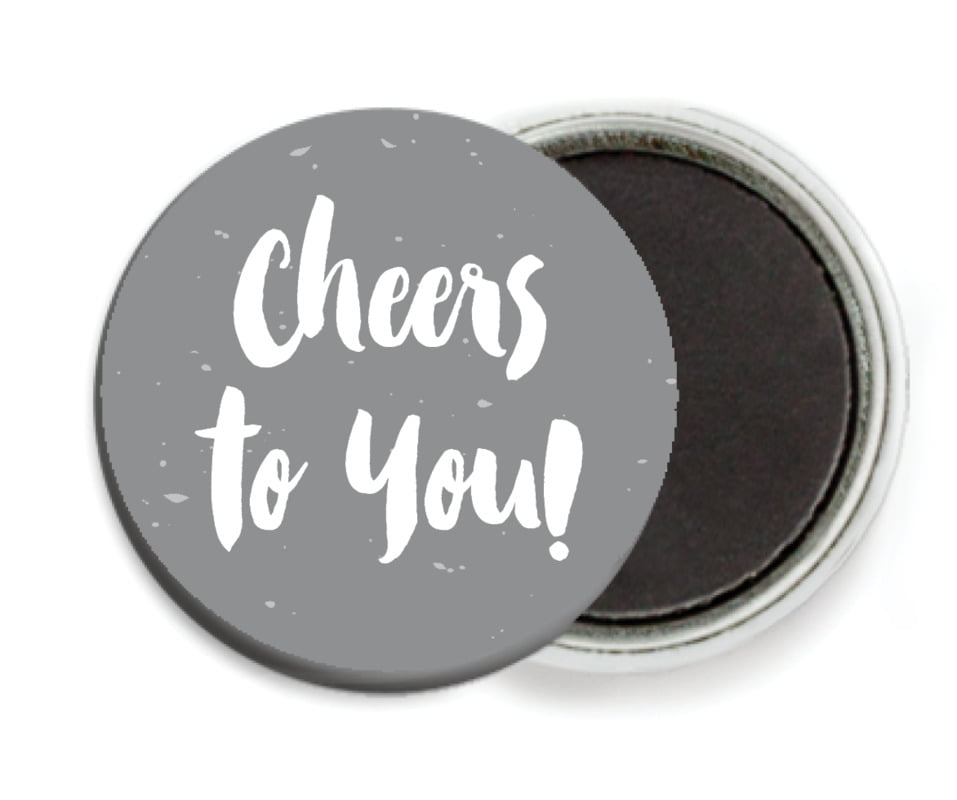 custom button magnets - charcoal - bonjour (set of 6)