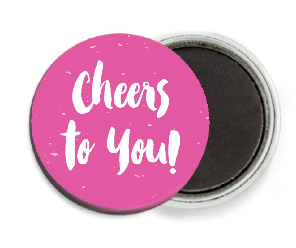 custom button magnets - bright pink - bonjour (set of 6)