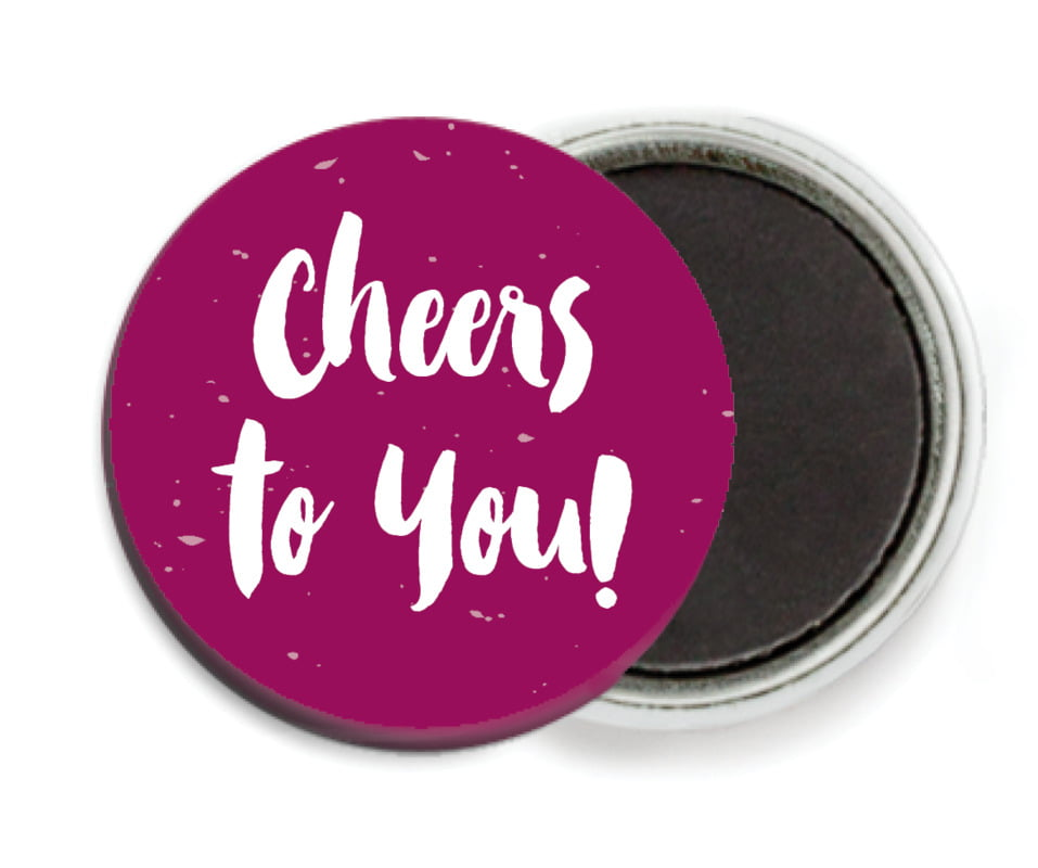custom button magnets - burgundy - bonjour (set of 6)