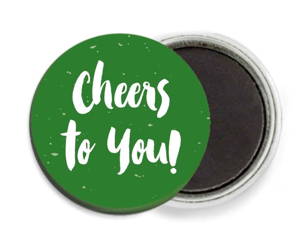 custom button magnets - deep green - bonjour (set of 6)