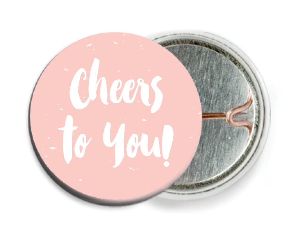 custom pin back buttons - rose quartz - bonjour (set of 6)
