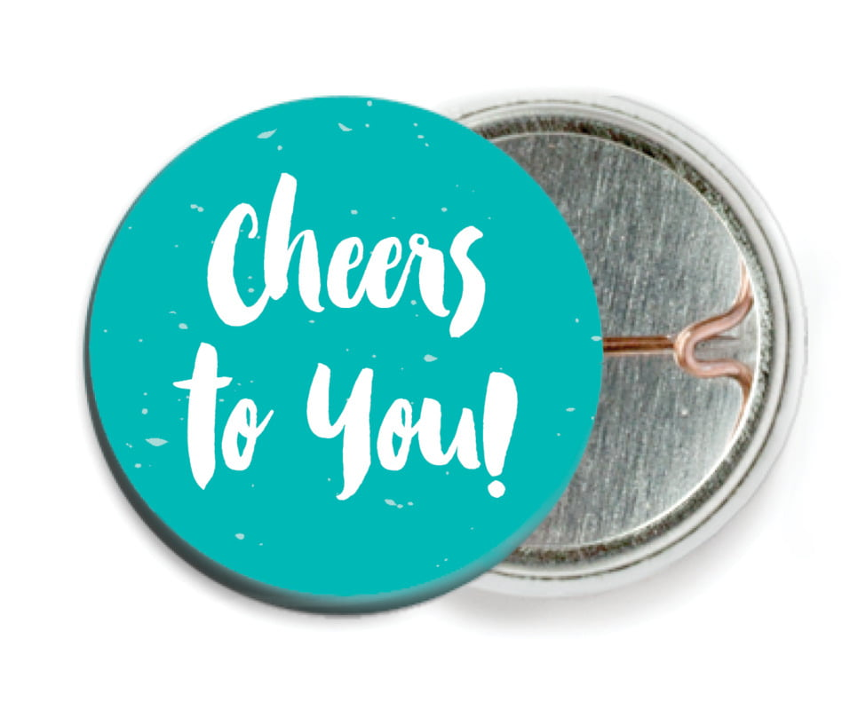 custom pin back buttons - turquoise - bonjour (set of 6)
