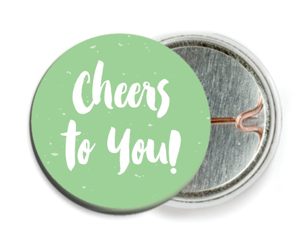 custom pin back buttons - spring green - bonjour (set of 6)