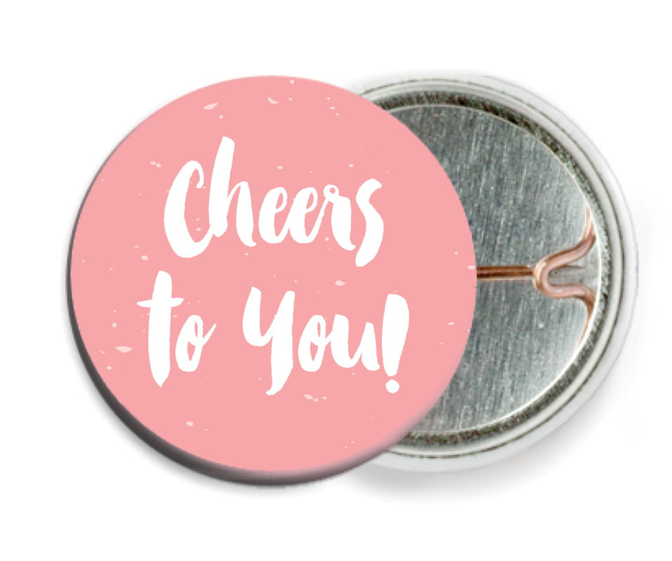 custom pin back buttons - grapefruit - bonjour (set of 6)
