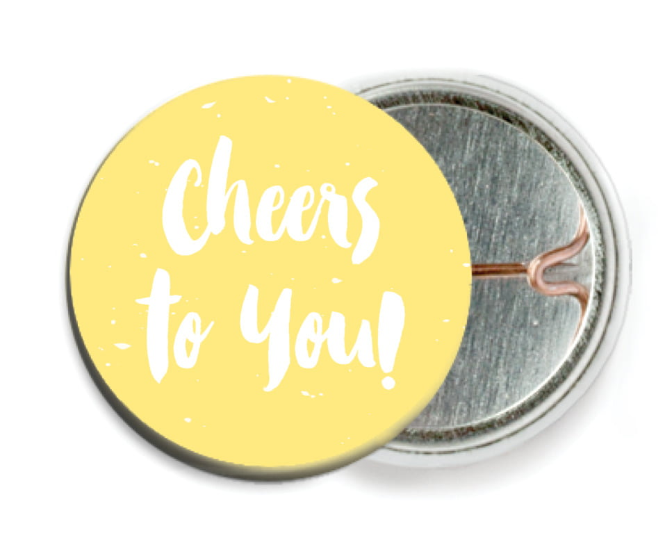 custom pin back buttons - sunburst - bonjour (set of 6)