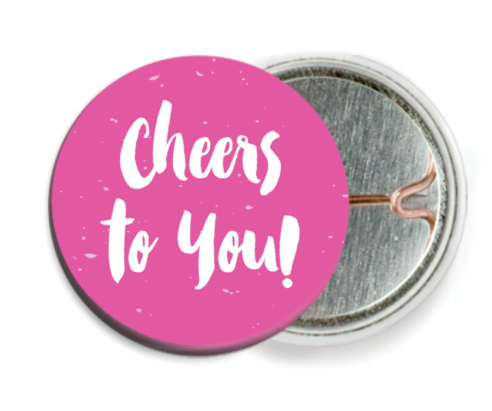 custom pin back buttons - bright pink - bonjour (set of 6)