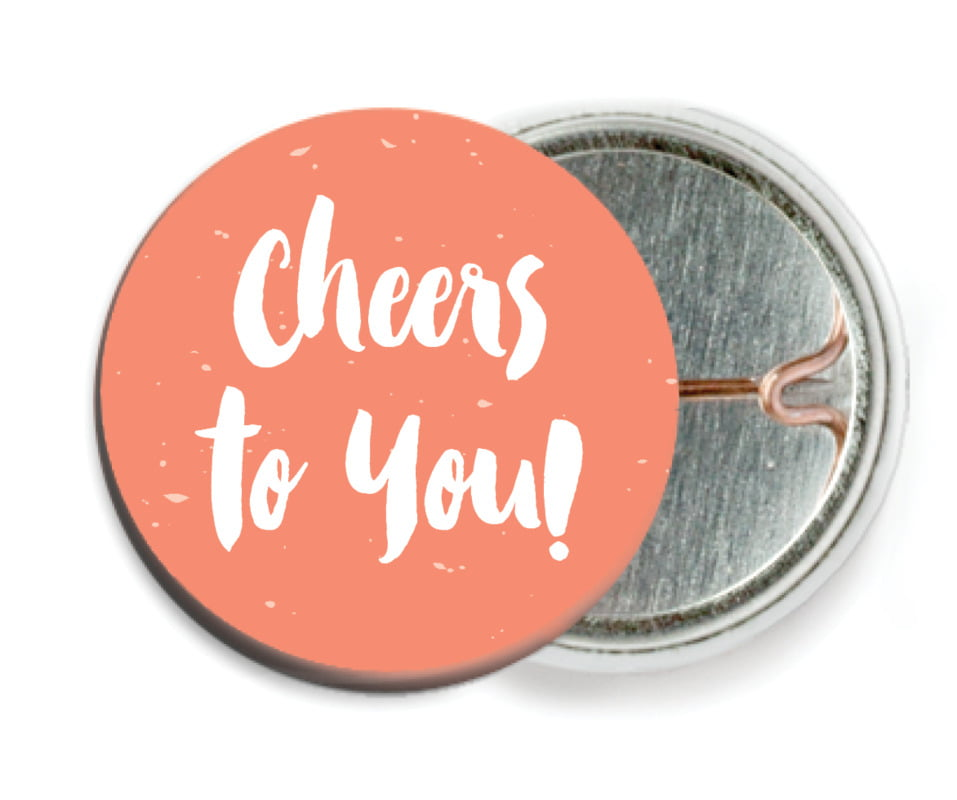 custom pin back buttons - coral - bonjour (set of 6)