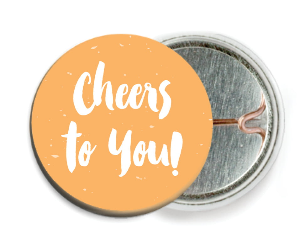 custom pin back buttons - tangerine - bonjour (set of 6)