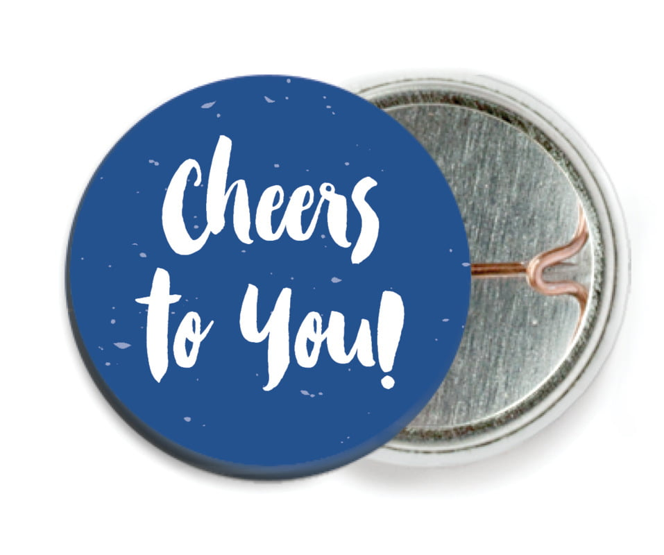 custom pin back buttons - deep blue - bonjour (set of 6)