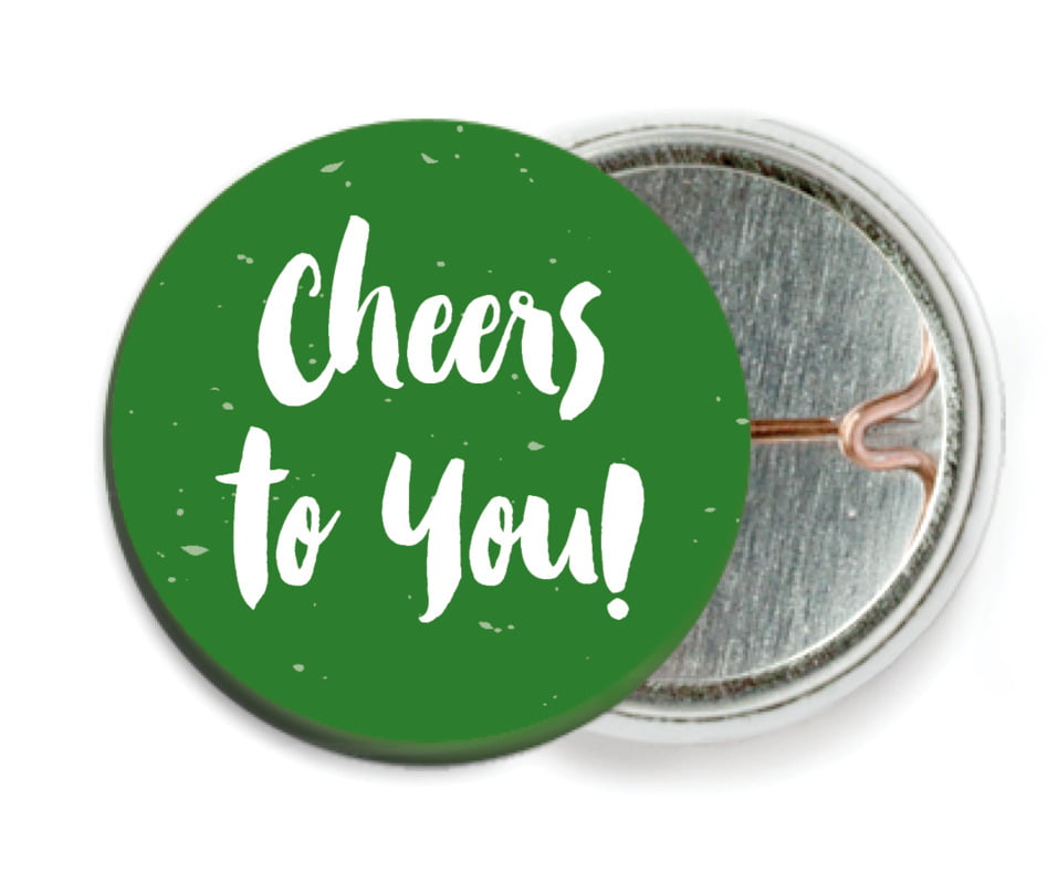 custom pin back buttons - deep green - bonjour (set of 6)