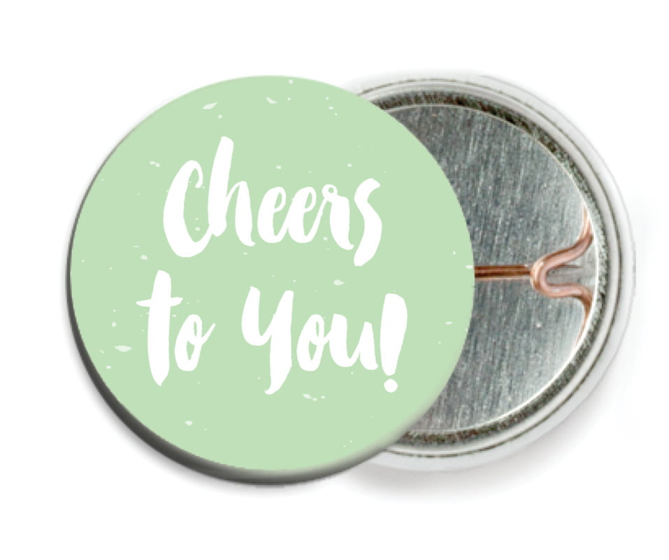custom pin back buttons - mint - bonjour (set of 6)