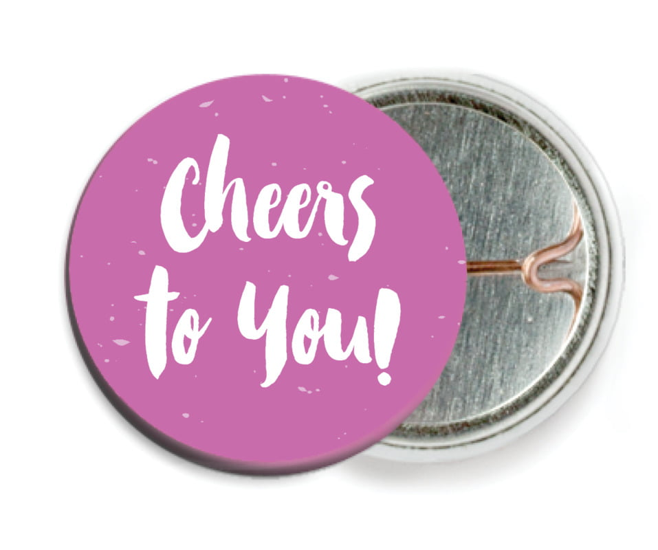 custom pin back buttons - radiant orchid - bonjour (set of 6)