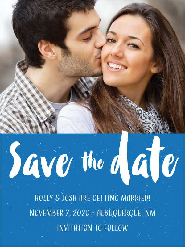 custom tall save the date cards - cobalt - bonjour (set of 10)
