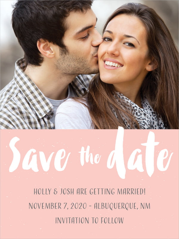 custom tall save the date cards - rose quartz - bonjour (set of 10)