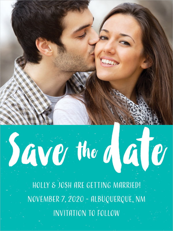 custom tall save the date cards - turquoise - bonjour (set of 10)