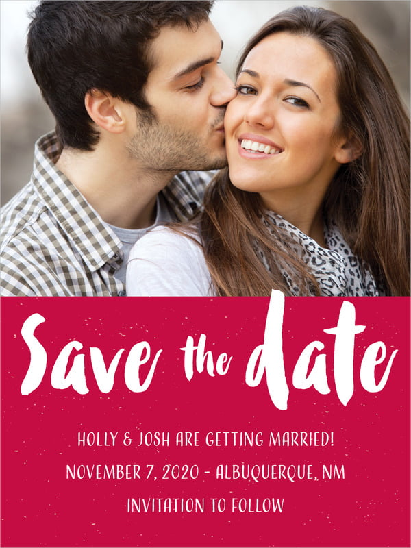 custom tall save the date cards - deep red - bonjour (set of 10)