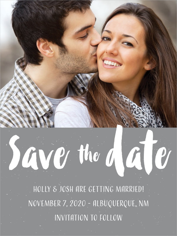 custom tall save the date cards - charcoal - bonjour (set of 10)