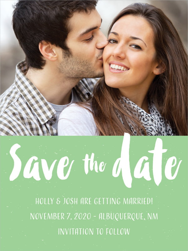 custom tall save the date cards - spring green - bonjour (set of 10)
