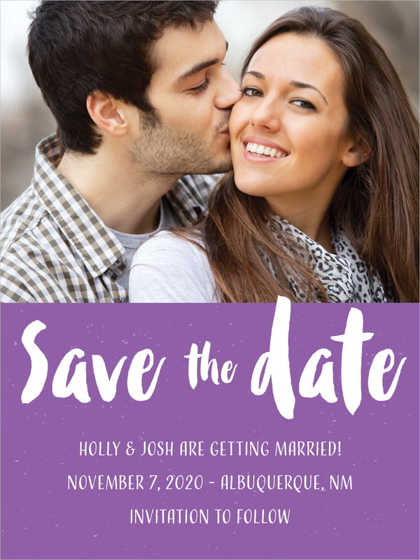 custom tall save the date cards - purple - bonjour (set of 10)