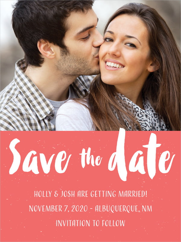 custom tall save the date cards - deep coral - bonjour (set of 10)