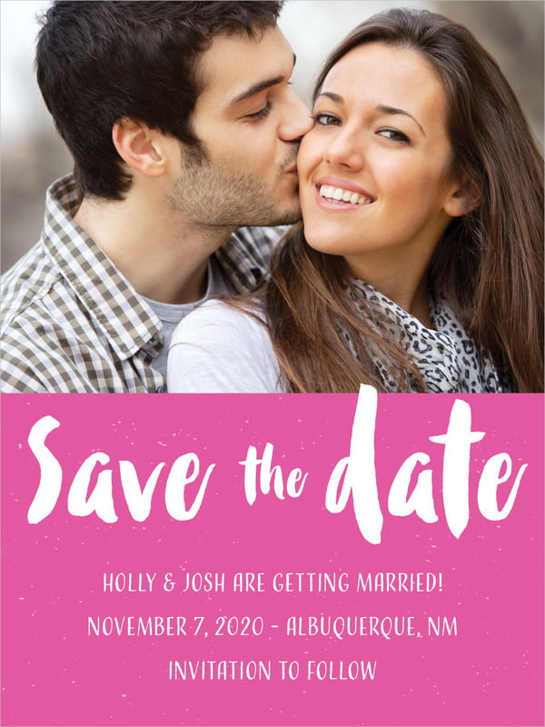 custom tall save the date cards - bright pink - bonjour (set of 10)