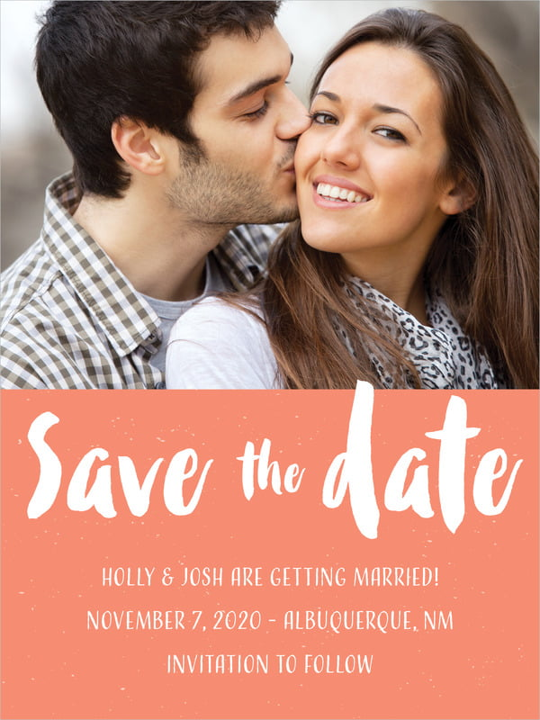custom tall save the date cards - coral - bonjour (set of 10)