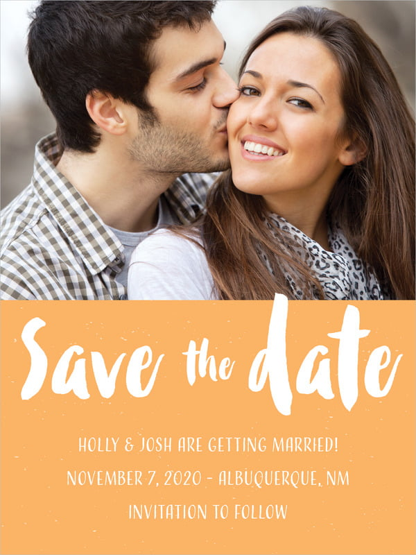 custom tall save the date cards - tangerine - bonjour (set of 10)