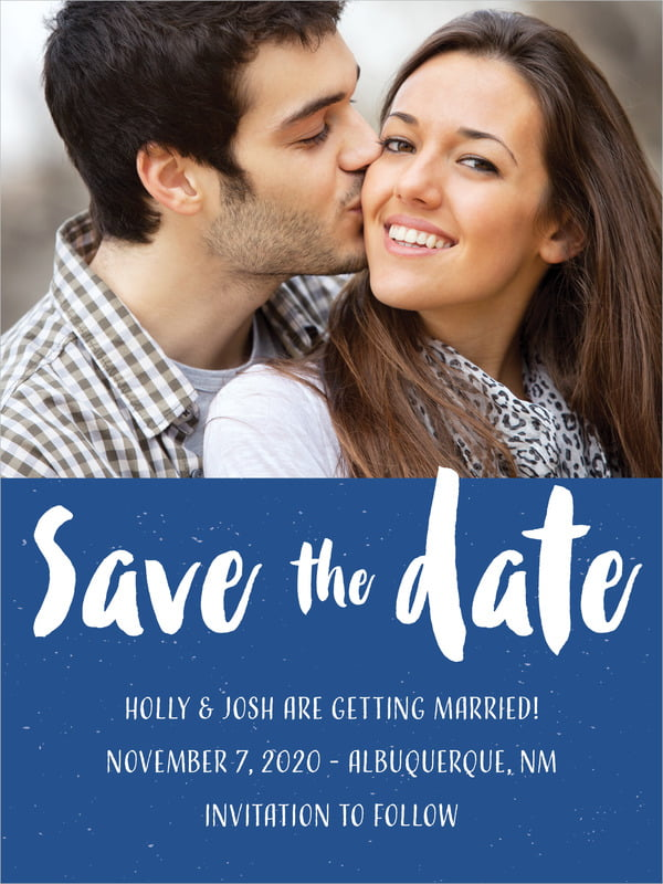 custom tall save the date cards - deep blue - bonjour (set of 10)