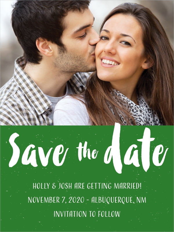 custom tall save the date cards - deep green - bonjour (set of 10)