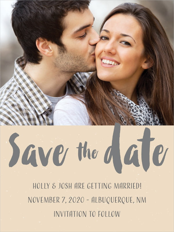 custom tall save the date cards - cappuccino - bonjour (set of 10)