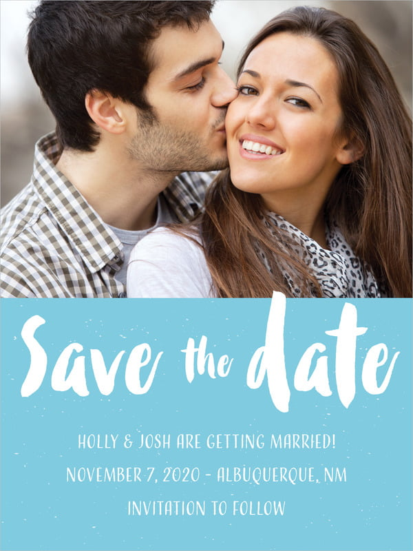 custom tall save the date cards - sky - bonjour (set of 10)