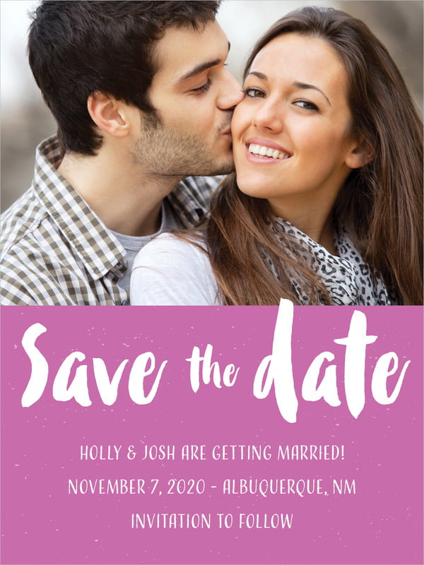 custom tall save the date cards - radiant orchid - bonjour (set of 10)